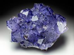 Fluorite, Transparent violet fluorite crystals with lustrous sphalerite Elmwood mine, Tennessee, USA 7.5 x 6.4 x 4 cm
