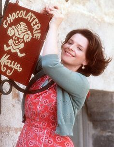 Juliette Binoche in Chocolat. Oh, those colors. The red cape, turquoise paint, endless chocolate browns.