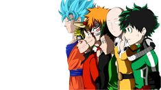 Anime Crossover  Dragon Ball Hunter × Hunter One Punch-Man Bleach One Piece Naruto Boku No Hero Academia Gon Freecss Goku Saitama (One-Punch Man) Ichigo Kurosaki Monkey D. Luffy Naruto Uzumaki Izuku Midoriya Wallpaper