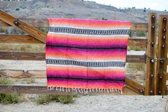 Mexican Falsa Blanket Pink Orange Oatmeal by CALIFORNIAPONCHO
