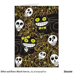 Ebbie and Elsie 2 Black Cats in Lime Green Card