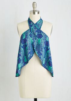 Fun and Fame Top. Its delights, camera, action whenever you wear this cool turquoise top - a collaboration between Anna Sui and O'Neill! #green #modcloth