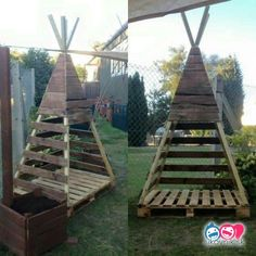 This tutorial will teach YOU how to make a pallet kids teepee in 5 Easy Steps! Use this idea as a trellis idea for those tomato, bean or other vining plants in your garden, too! Backyard Play, Backyard Projects, Diy Pallet Projects, Wood Teepee, Teepee Kids, Teepees, Diy Tipi, Free Pallets, 1001 Pallets