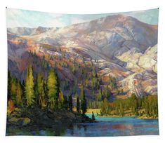 The Divide, alpine mountain wilderness tapestry wall art from Steve Henderson Collections. What a sight to wake up to! It's a long hike up to this remote lake, but once you arrive, there are few people around, and setting up your tent and campsite is an act of contentment. The view is majestic, and the landscape is silent and peaceful. #mountain #wilderness #lake #country #camping #ArtForTheHeart #shenderson #tapestry #homedecor #wallart #art #artwork #peaceful #pristine