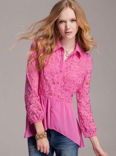 Petit4You - Camisa Renda Rosa