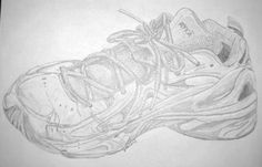 Shoe drawing by Janin Wise. pencil.