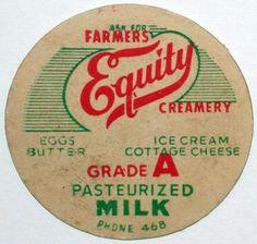 Old Milk Bottle Cap Farmers Equity Creamery Pasteurized Milk Unused Excellent | eBay