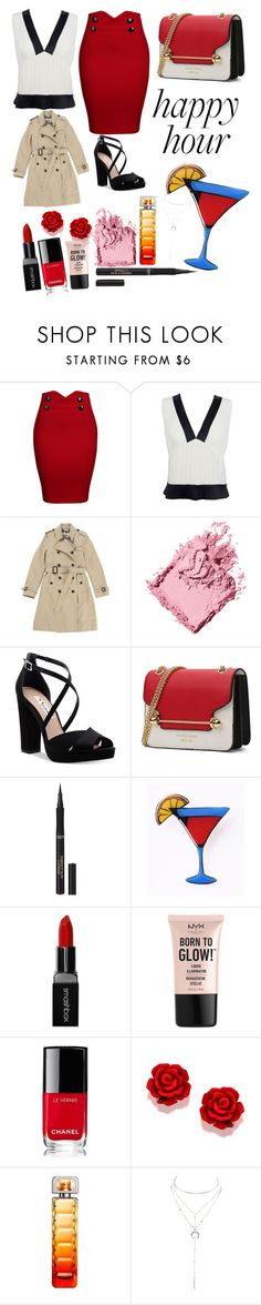 """""""Happy Hour! 🍸"""" by peacock-style ❤ liked on Polyvore featuring WithChic, Chanel, Burberry, Bobbi Brown Cosmetics, Nina, L'Oréal Paris, Smashbox, NYX, HUGO and Charlotte Russe"""