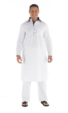 Button front Men's kurta Set. Contrast lining on placket and collar. Pleated back with yoke and pockets on side and chest.  (Pants included) Fabric: 100% Cotton.