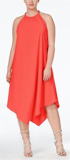 Plus Size Handkerchief-Hem Halter Shift Dress