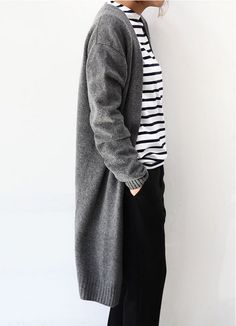 Striped shirt with long cardi and black slacks