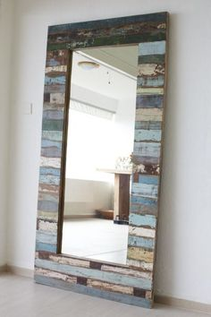 Vintage Mirror .. colored wood ……