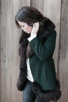 Paris thrift shop find - faux fur trimmed forest green wool coat!