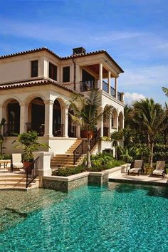Hopefully move to Miami after already working for some plastic surgeons and hopefully have enough money to buy a nice villa in South Beach pool backyard Architecture Mediterranean Homes, Mediterranean Architecture, Spanish Architecture, Colonial Architecture, Classic Architecture, House Goals, My Dream Home, Dream Homes, Dream Big