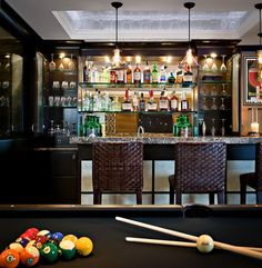 Man cave bar & pool table