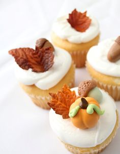 Edible Fall Leaves, Pumpkins, and Acorns - qty 24- Fondant fall decoration great for cupcakes, birthday partys, wedding cake. $24.80, via Etsy.