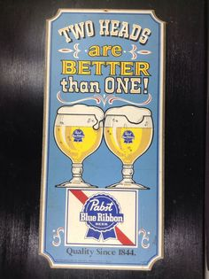 Pabst Blue Ribbon Beer Wood Sign PBR Milwaukee WI Two Heads #pabstblueribbon #pabstbeer #pabst #pbr #pbrmeasap #beersign #barsign #pubsign #woodsign #paintedsign #cheers #beerglasses #mancave #breweriana #cjbeez #blueribbonbeer #pabstbrewing #bar #pub