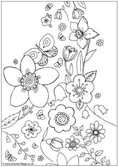 Activity Village---Spring flowers colouring page