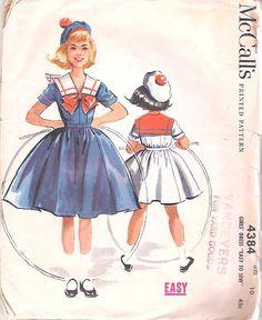 Schnittmuster für #Matrosenkleid für Mädchen ~~~~   Vintage 50s Girls #Sailor_Dress Pattern McCalls 4384 size 10 breast 28 Children.