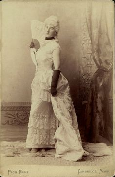 ca. 1886, [cabinet card, portrait of Boylston Beal of Harvard University, demurely posed in a dress for a Hasty Pudding Club's show], Pach Bros.