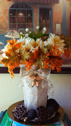 Centerpiece for Members Party.  We love decorating for Fall!