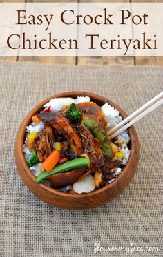 Crock Pot Chicken Teriyaki is so easy to make in the crock pot. With only 3 ingredients and some white rice you can enjoy a delicious meal with little work.