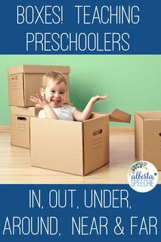 Teach Preschoolers a variety of prepositions in speech therapy using boxes.