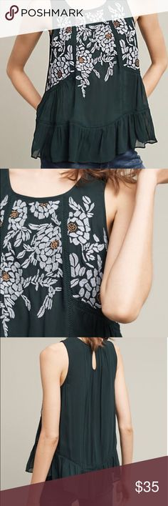 Anthropologie Floreat Roselle Tank, Sz. M, NWT Green top with beautiful embroidery at the top. Never worn, NWT Anthropologie Tops Tank Tops
