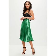 Missguided Satin Pleated Midi Skirt (£32) ❤ liked on Polyvore featuring skirts, high rise skirts, high waisted knee length skirt, midi skirts, high waisted skirts and calf length skirts