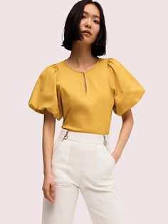 Kate Spade Puff Sleeve Poplin Blouse In Chartreuse Work Tops, Short Sleeve Blouse, Designing Women, Blouse Designs, Blouses For Women, Casual Outfits, Fashion Dresses, Womens Fashion, How To Wear
