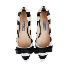 PRADA Striped Leather Bow Flat Shoe