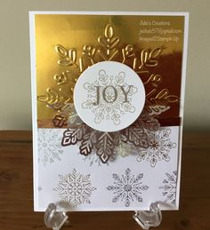Christmas card with lots of bling #Christmas #Stampin Up demonstrator # Christmas quilt