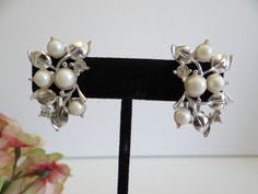Vintage Mid Century Faux Pearl and Rhinestone Clip Earrings – Lovely and Classic Design – Elegant Clip Earrings