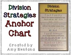 This is a division strategies anchor chart. It& perfect for displaying in your classroom all year long. Be sure to check out the multiplication version too. It& also a freebie! Multiplication Strategies, Math Strategies, Math Resources, Division Strategies, Math Division, Long Division, Math Charts, Math Anchor Charts, Classroom Freebies