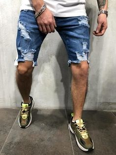 Cheap Offer of 2019 Summer Thin Short Jeans Men Skinny Denim Shorts Fashion Streetwear Hip Hop Casual Beach Zipper fly Straight Pants If You. Ripped Jean Shorts, Ripped Jeans Men, Denim Shorts, Men's Jeans, Mode Shorts, Mode Jeans, Casual Jeans, Men Casual, Smart Casual
