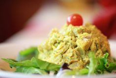 The spices and Greek yogurt in this curried chicken salad recipe transform bland chicken to yummy. On the MRC program use apples instead of grapes.