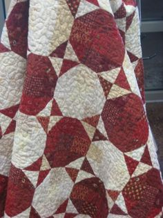 """Red and White Snowball Quilt as seen on Fat Cat Quilts  """"Leftovers Again"""" from 40 Quick Cut Quilts by Evelyn Sloppy"""