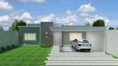 Casa C012: Projeto de casa com 3 quartos, sendo 1 suíte, 2 banheiros e 1 vaga na garagem. Acabamento da fachada moderno, em platibanda. #fachadasmodernasresidenciais