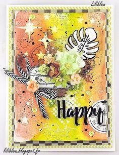 """Carte """"Happy"""" - DT La Malle Aux Fleurs & Denim Tampons. - By Lilibleu"""