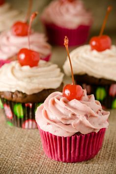 Chocolate Cherry Cupcakes, Two Ways (from Cupcake Project) - I want to try the frostings!