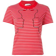 Vivetta embroidered striped T-shirt (5.346.265 VND) ❤ liked on Polyvore featuring tops, t-shirts, red, red striped t shirt, print t shirts, striped t shirt, stripe t shirt and embroidered t shirts