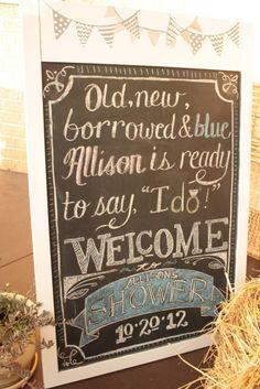 unique chalk signs decorations for rustic bridal shower ideas 2014 #elegantweddinginvites
