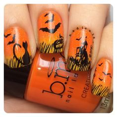Halloween nails! Gradient using Bundle Monster Orange Peel and Sunshine Yellow topped of with China Glaze Fairy Dust. Stamped using Bundle monster BM-213, BM-305, BM-409, BM-412, BM-H06, and BM-H07 in Bundle Monster Noir Black.