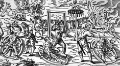 Most commonly used in Germany during the Middle Ages victim was tied to the wheel on the ground and wooden crosspieces were placed under each major joint (wrist, ankles, hips, shoulders, knees).  After the pleasantries were observed, the torturer would start hammering the crosspieces with a heavy, iron-enhanced wheel. Following the severe bashing, the victim's limbs were braided into the spokes of the wheels and displayed to the general public until the victim died.