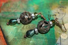 brass patina filigree dangle earrings by CloverMoonDesigns on Etsy