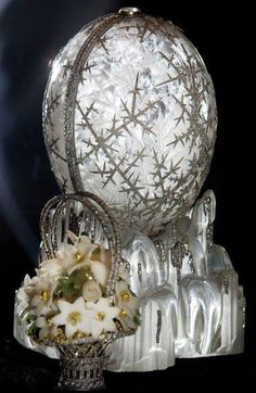 The Winter Egg ---- considered by experts to be the most beautiful of all of the Faberge Eggs. Nicholas II had this made for 1913. The surprise inside is a basket of flowers to represent Spring.