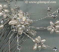 Wedding Hair Accessory - Side Comb, Freshwater Pearls and Rhinestones