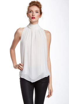 Vince Camuto Turtleneck Sleeveless Keyhole Back Blouse