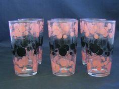 Vintage drinking glasses pink black polka dots~~