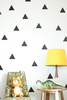 triangles, wall stickers (and also, a dinosaur. and a cat. the two best things.)